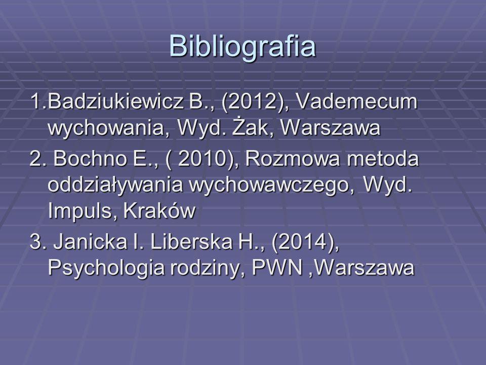 Bibliografia 1.Badziukiewicz B., (2012), Vademecum wychowania, Wyd. Żak, Warszawa.