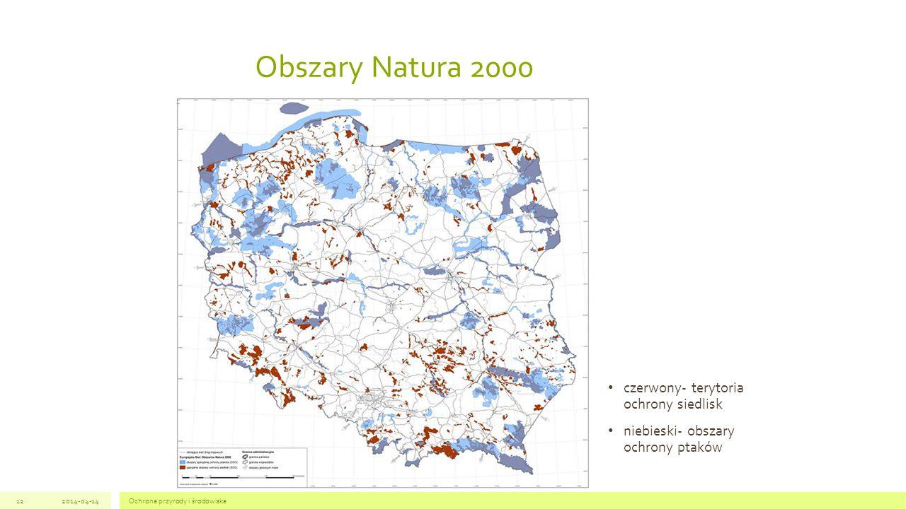 Obszary Natura 2000 czerwony- terytoria ochrony siedlisk