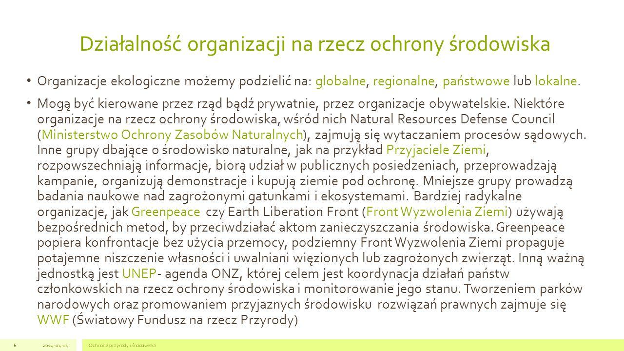 Działalność organizacji na rzecz ochrony środowiska