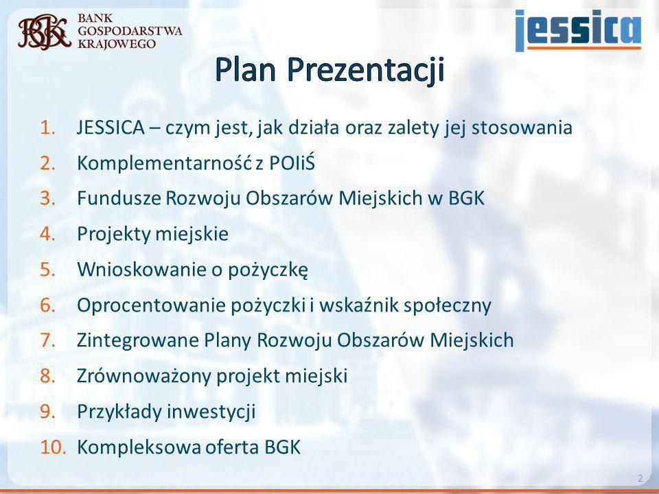 Plan Prezentacji JESSICA – czym jest, jak działa oraz zalety jej stosowania. Komplementarność z POIiŚ.