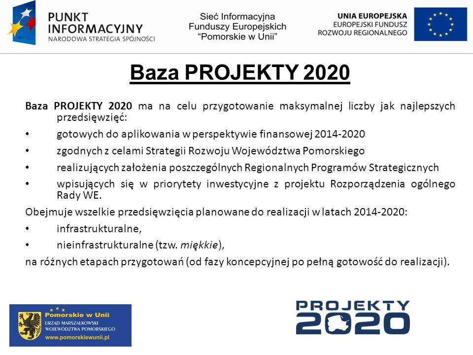Baza PROJEKTY 2020 Baza PROJEKTY 2020 ma na celu przygotowanie maksymalnej liczby jak najlepszych przedsięwzięć: