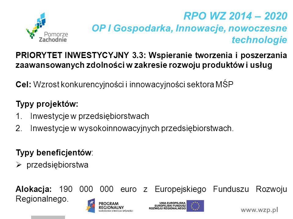 RPO WZ 2014 – 2020 OP I Gospodarka, Innowacje, nowoczesne technologie