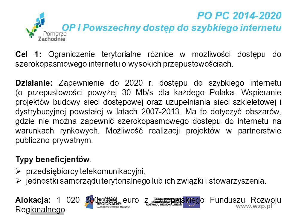 PO PC 2014-2020 OP I Powszechny dostęp do szybkiego internetu