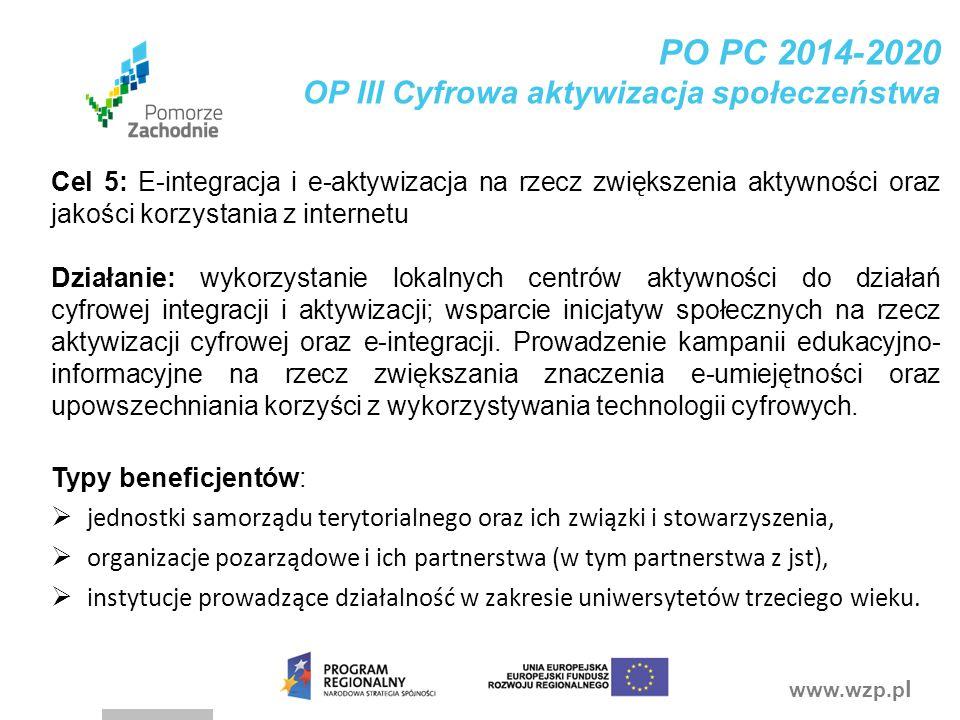 PO PC 2014-2020 OP III Cyfrowa aktywizacja społeczeństwa