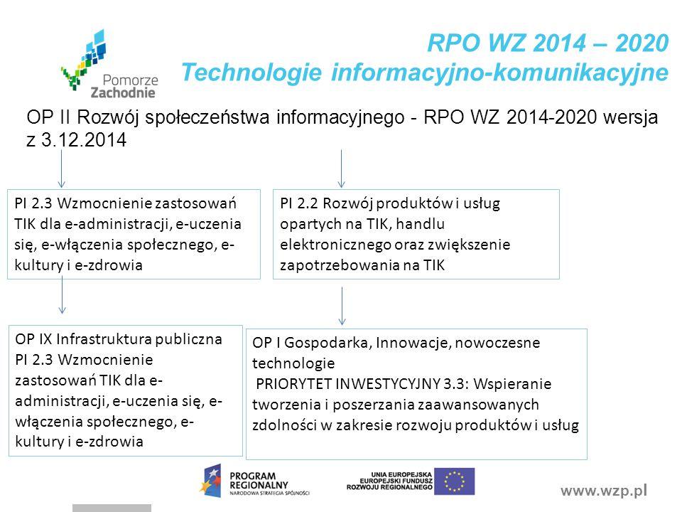 RPO WZ 2014 – 2020 Technologie informacyjno-komunikacyjne