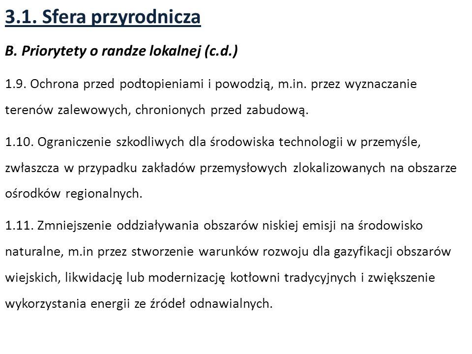 3.1. Sfera przyrodnicza B. Priorytety o randze lokalnej (c.d.)