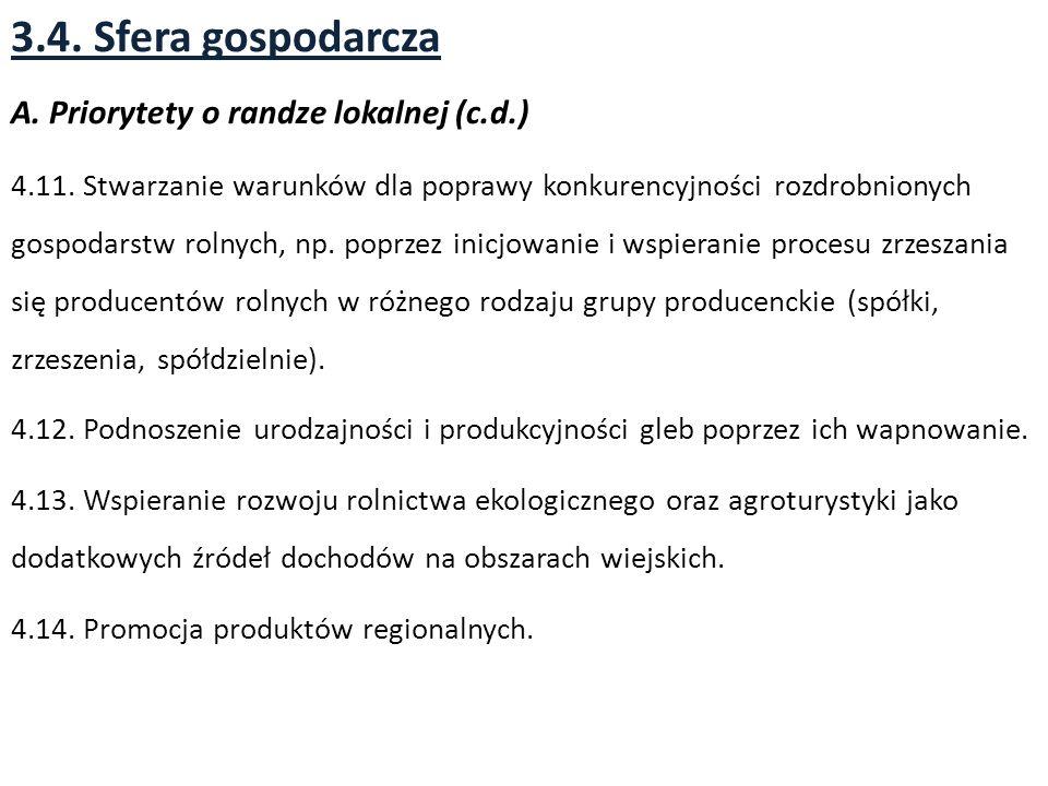 3.4. Sfera gospodarcza A. Priorytety o randze lokalnej (c.d.)