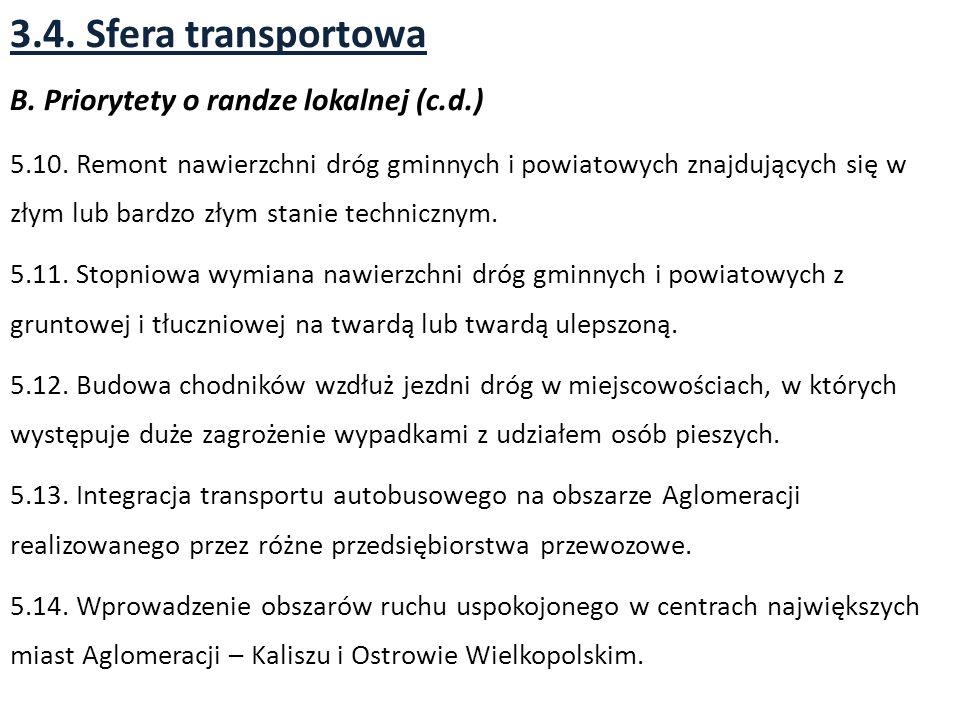 3.4. Sfera transportowa B. Priorytety o randze lokalnej (c.d.)