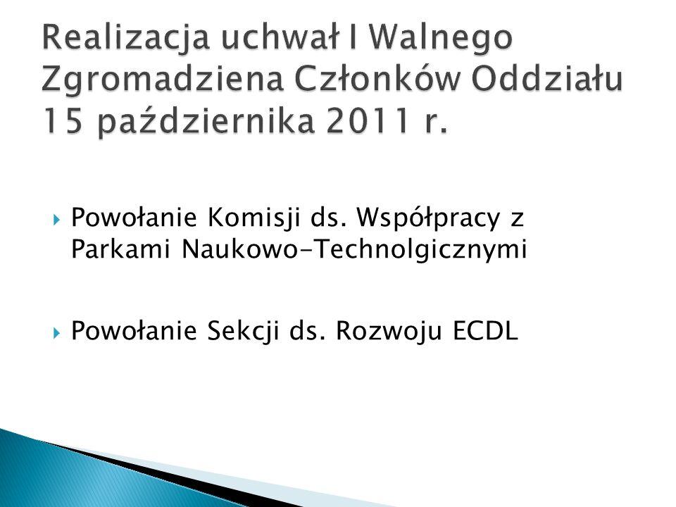 Realizacja uchwał I Walnego Zgromadziena Członków Oddziału 15 października 2011 r.