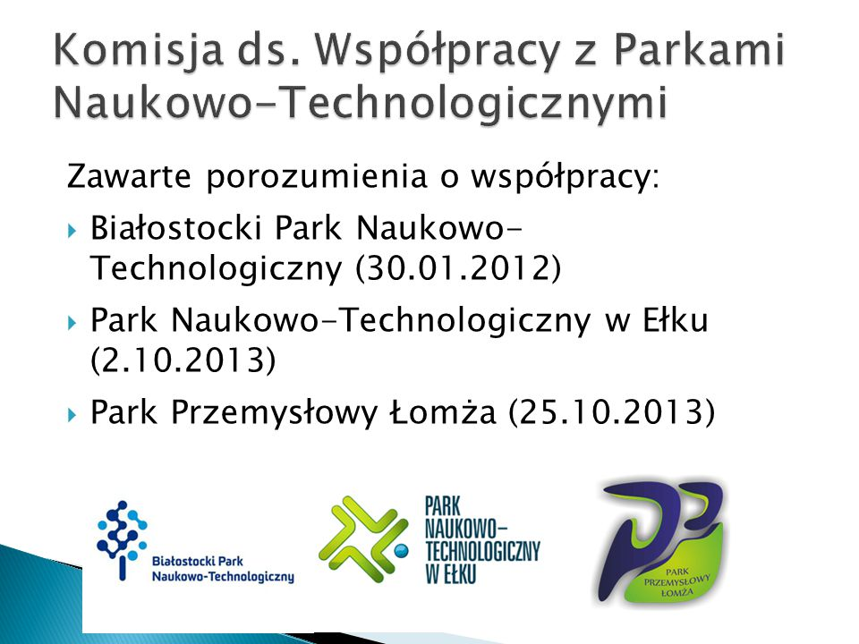 Komisja ds. Współpracy z Parkami Naukowo-Technologicznymi
