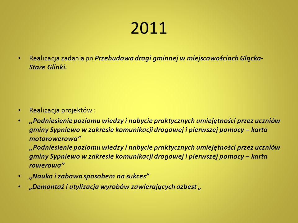 2011 Realizacja zadania pn Przebudowa drogi gminnej w miejscowościach Glącka- Stare Glinki. Realizacja projektów :
