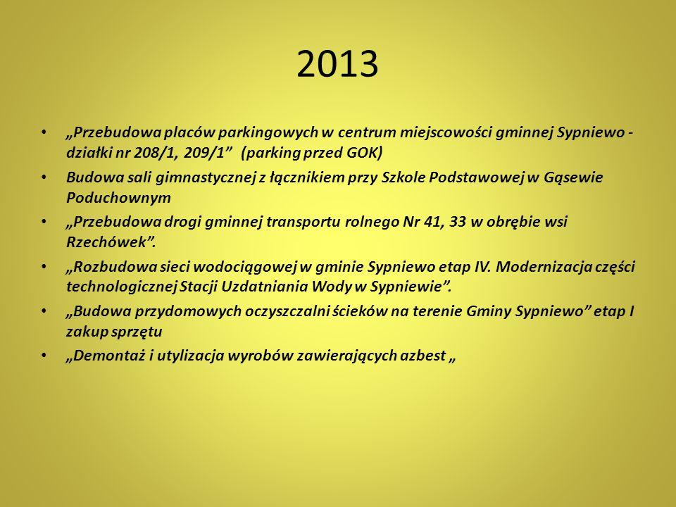 """2013 """"Przebudowa placów parkingowych w centrum miejscowości gminnej Sypniewo - działki nr 208/1, 209/1 (parking przed GOK)"""