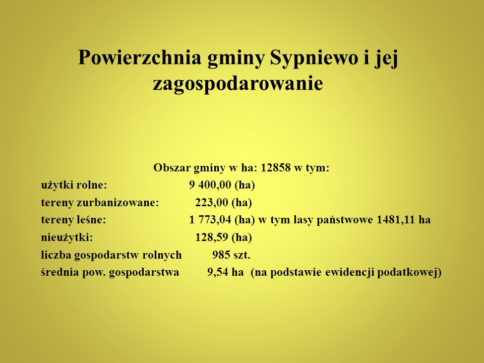 Powierzchnia gminy Sypniewo i jej zagospodarowanie