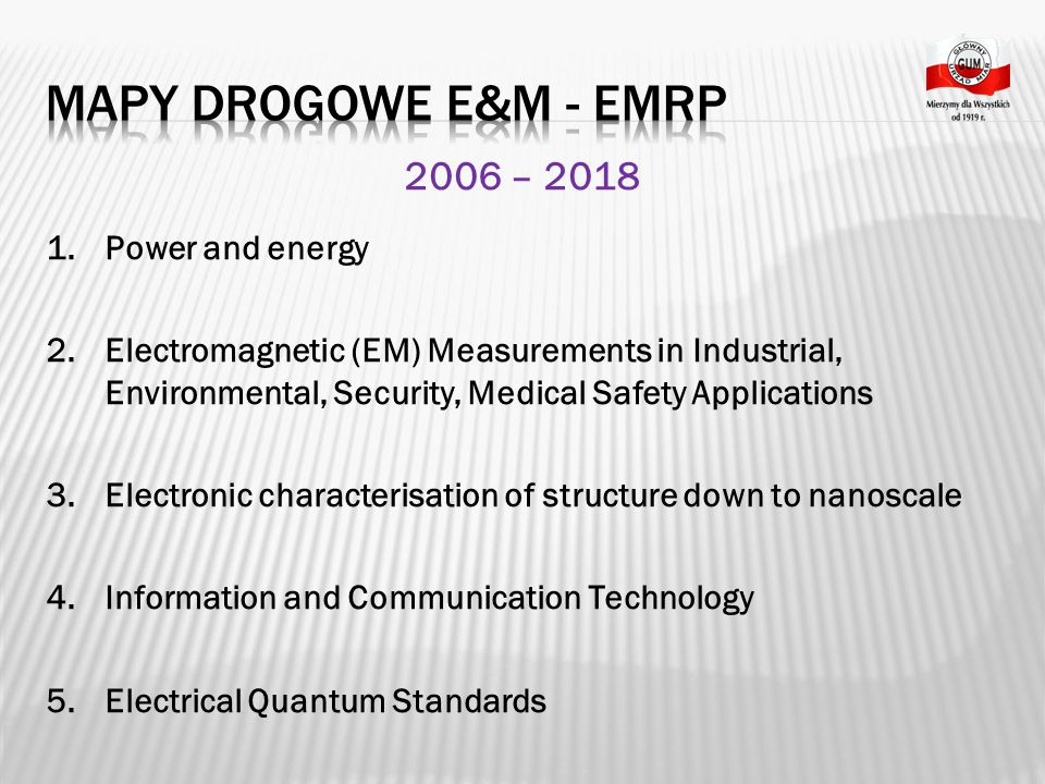 Mapy Drogowe E&M - EMRP 2006 – 2018 Power and energy