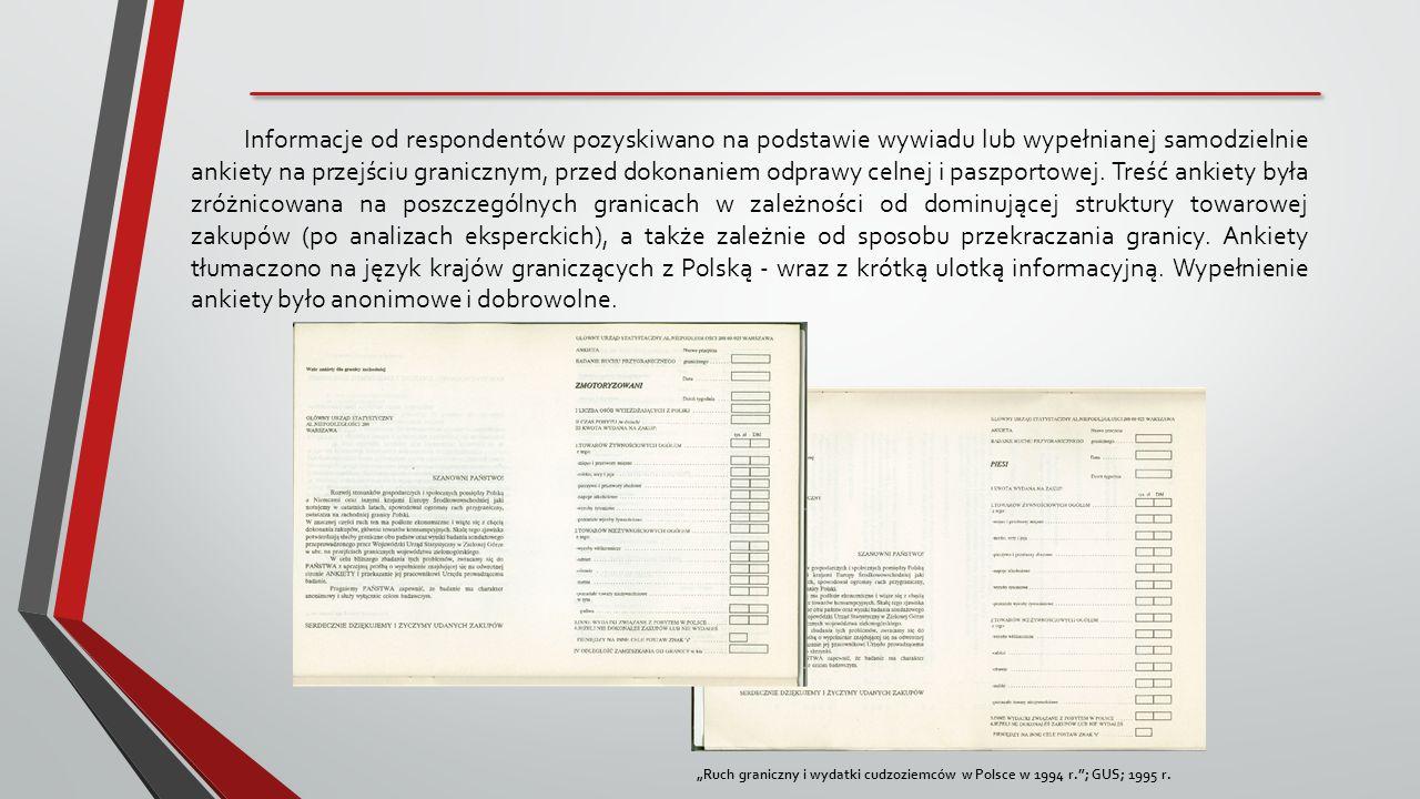 Informacje od respondentów pozyskiwano na podstawie wywiadu lub wypełnianej samodzielnie ankiety na przejściu granicznym, przed dokonaniem odprawy celnej i paszportowej. Treść ankiety była zróżnicowana na poszczególnych granicach w zależności od dominującej struktury towarowej zakupów (po analizach eksperckich), a także zależnie od sposobu przekraczania granicy. Ankiety tłumaczono na język krajów graniczących z Polską - wraz z krótką ulotką informacyjną. Wypełnienie ankiety było anonimowe i dobrowolne.