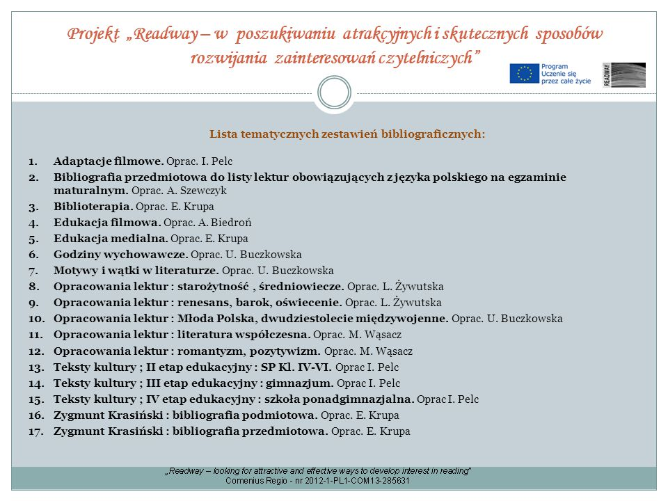 Lista tematycznych zestawień bibliograficznych: