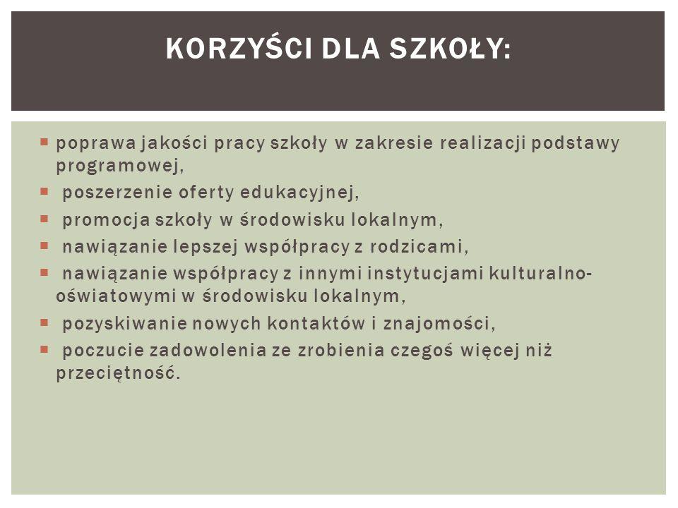 Korzyści Dla szkoły: poprawa jakości pracy szkoły w zakresie realizacji podstawy programowej, poszerzenie oferty edukacyjnej,