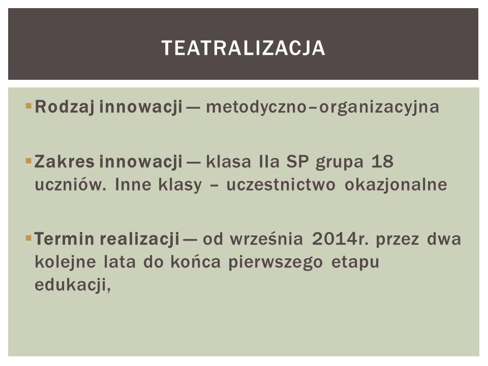 teatralizacja Rodzaj innowacji — metodyczno–organizacyjna