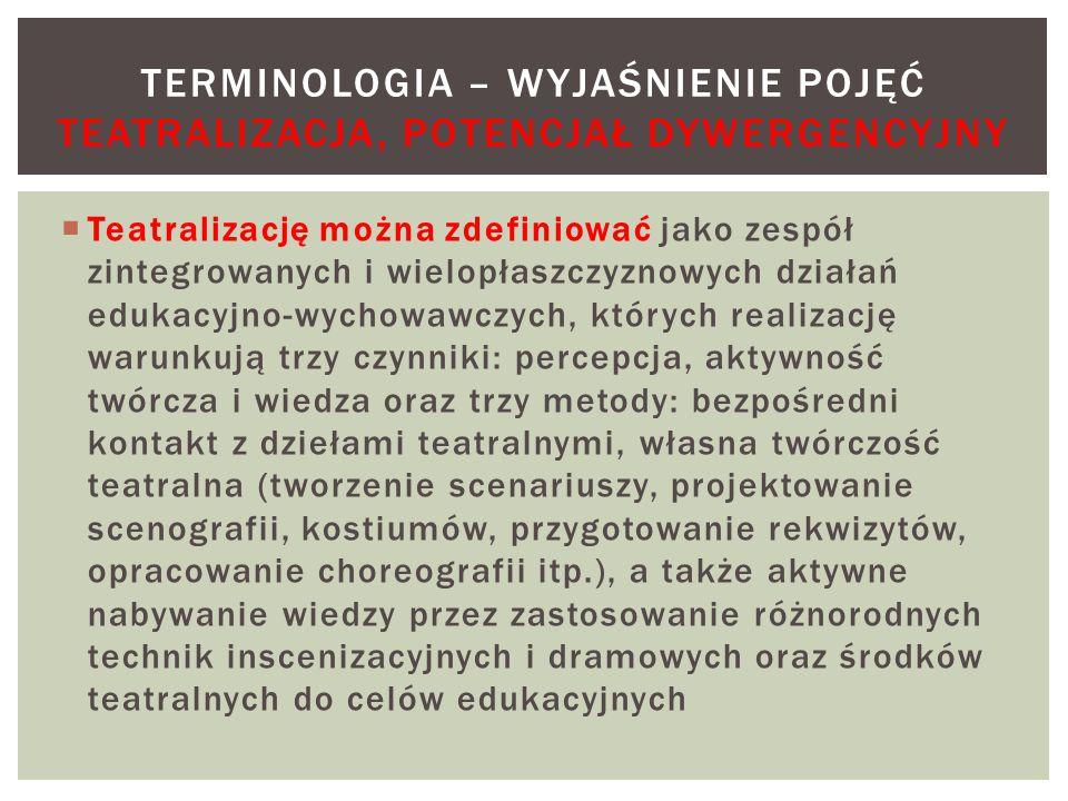 Terminologia – wyjaśnienie pojęć Teatralizacja, potencjał dywergencyjny