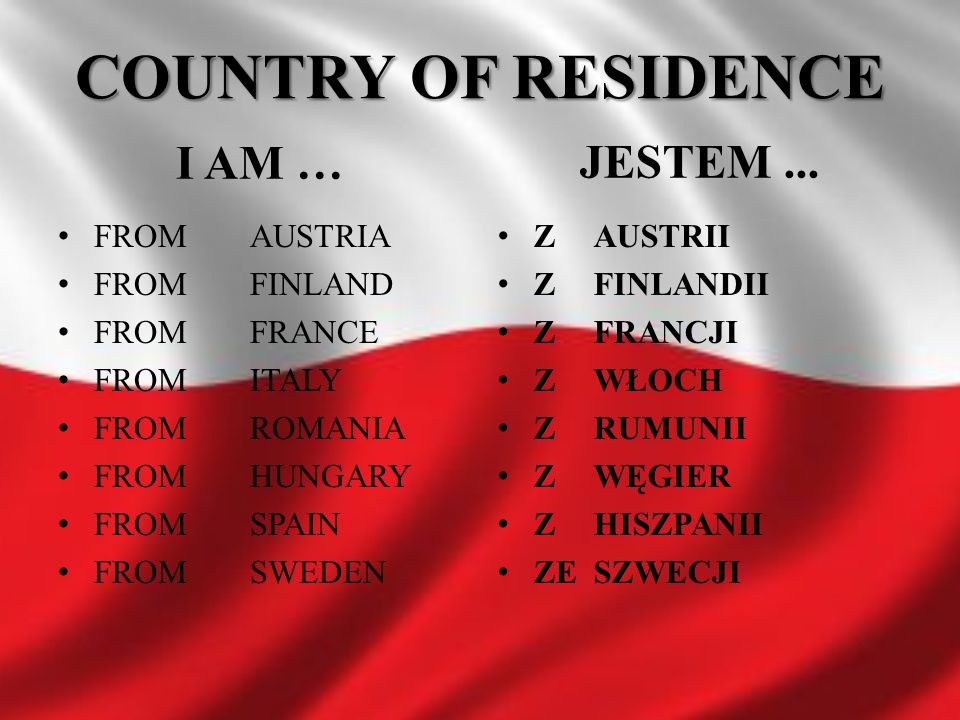 COUNTRY OF RESIDENCE I AM … JESTEM ... FROM AUSTRIA FROM FINLAND
