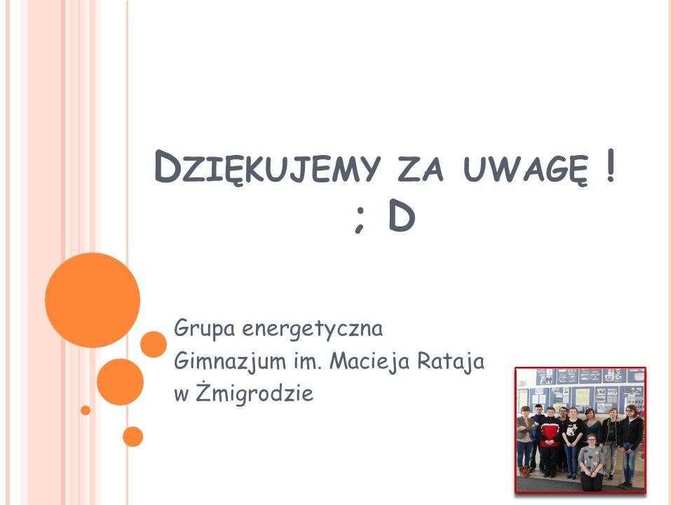 Grupa energetyczna Gimnazjum im. Macieja Rataja w Żmigrodzie
