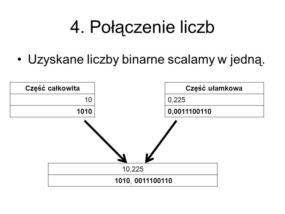 4. Połączenie liczb Uzyskane liczby binarne scalamy w jedną.