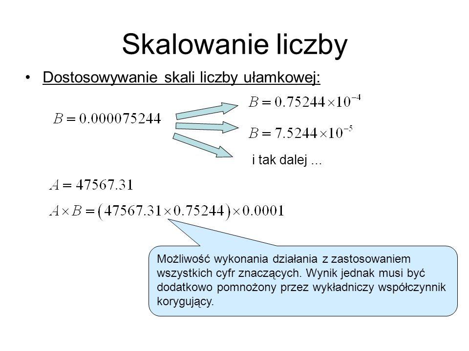 Skalowanie liczby Dostosowywanie skali liczby ułamkowej:
