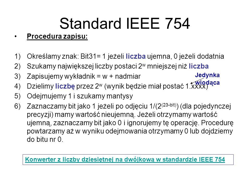 Standard IEEE 754 Procedura zapisu:
