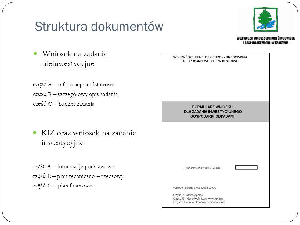 Struktura dokumentów Wniosek na zadanie nieinwestycyjne