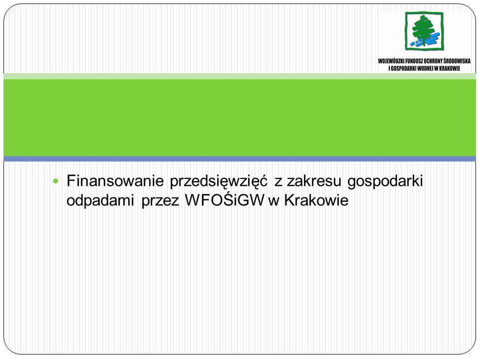 Finansowanie przedsięwzięć z zakresu gospodarki odpadami przez WFOŚiGW w Krakowie