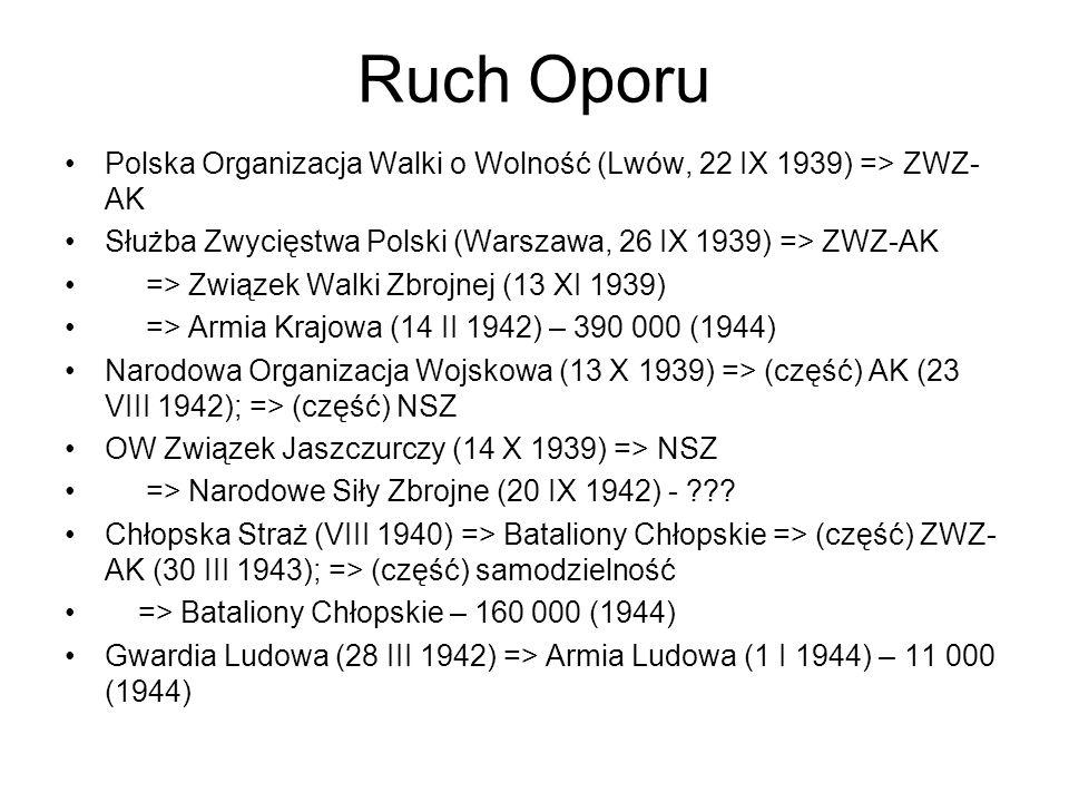 Ruch Oporu Polska Organizacja Walki o Wolność (Lwów, 22 IX 1939) => ZWZ-AK. Służba Zwycięstwa Polski (Warszawa, 26 IX 1939) => ZWZ-AK.