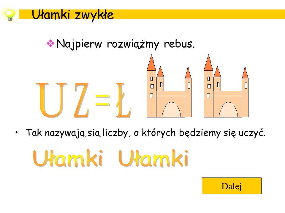 U Z = Ł Ułamki Ułamki Ułamki zwykłe Najpierw rozwiążmy rebus.