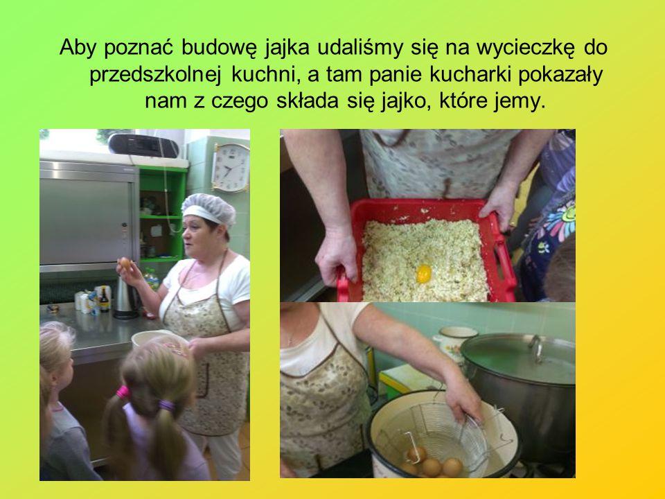 Aby poznać budowę jajka udaliśmy się na wycieczkę do przedszkolnej kuchni, a tam panie kucharki pokazały nam z czego składa się jajko, które jemy.