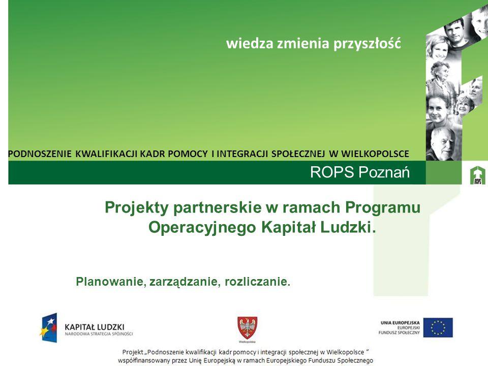 Projekty partnerskie w ramach Programu Operacyjnego Kapitał Ludzki.