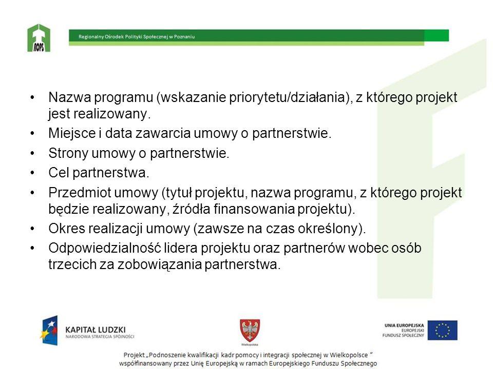 Nazwa programu (wskazanie priorytetu/działania), z którego projekt jest realizowany.