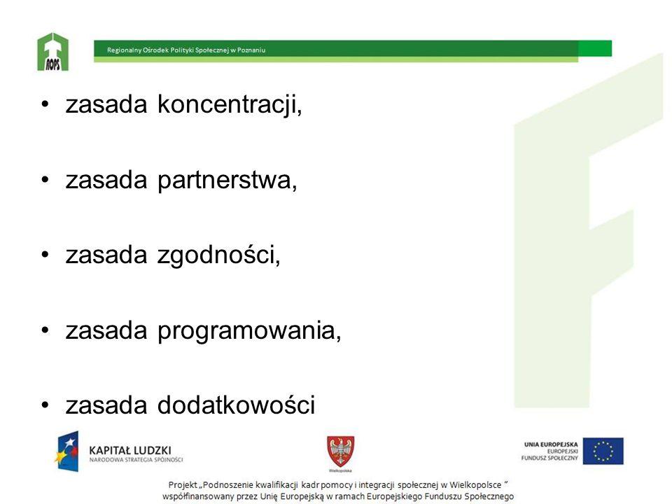zasada koncentracji, zasada partnerstwa, zasada zgodności, zasada programowania, zasada dodatkowości.