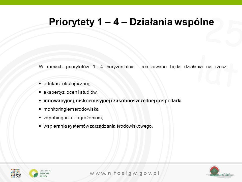 Priorytety 1 – 4 – Działania wspólne