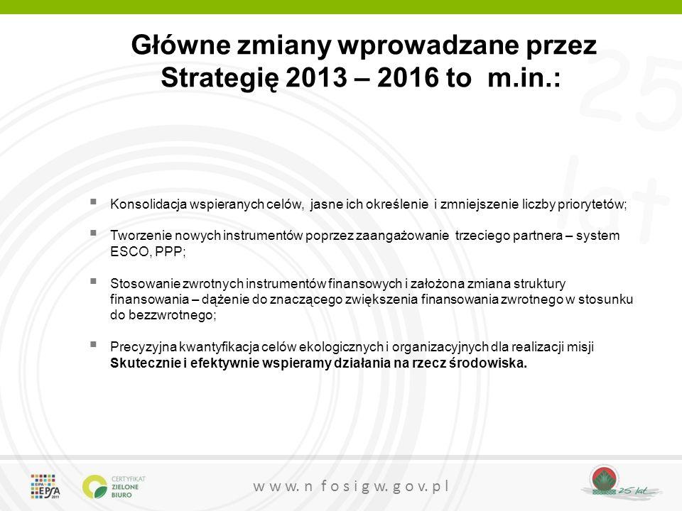 Główne zmiany wprowadzane przez Strategię 2013 – 2016 to m.in.: