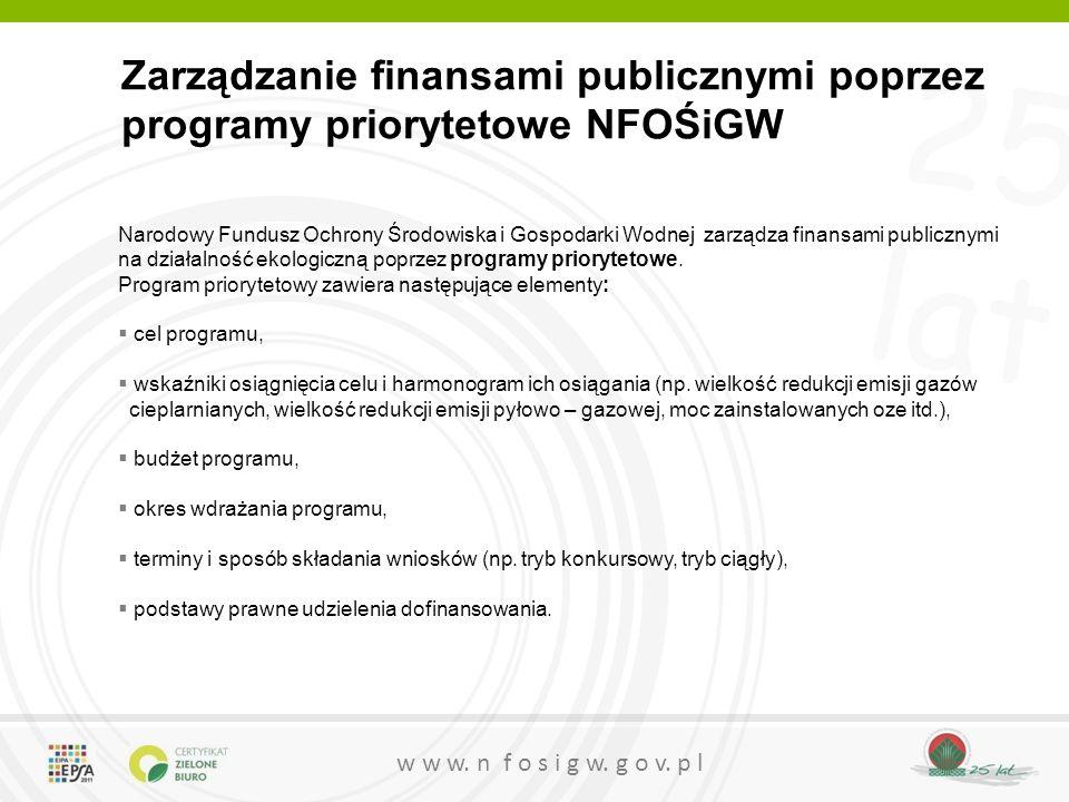 Zarządzanie finansami publicznymi poprzez programy priorytetowe NFOŚiGW