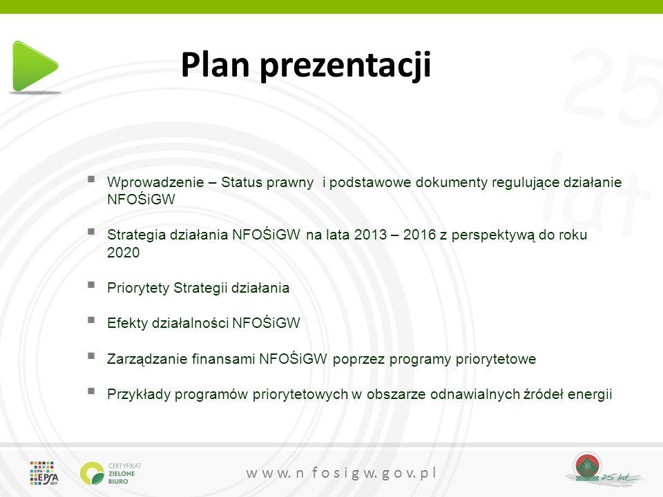 Plan prezentacji Wprowadzenie – Status prawny i podstawowe dokumenty regulujące działanie NFOŚiGW.