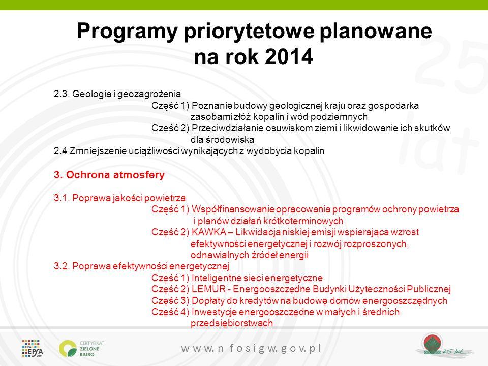 Programy priorytetowe planowane na rok 2014