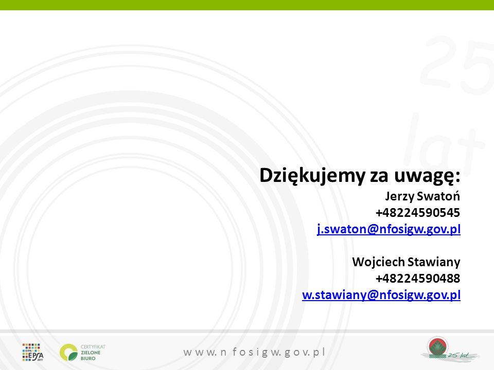 Dziękujemy za uwagę: Jerzy Swatoń +48224590545 j.swaton@nfosigw.gov.pl