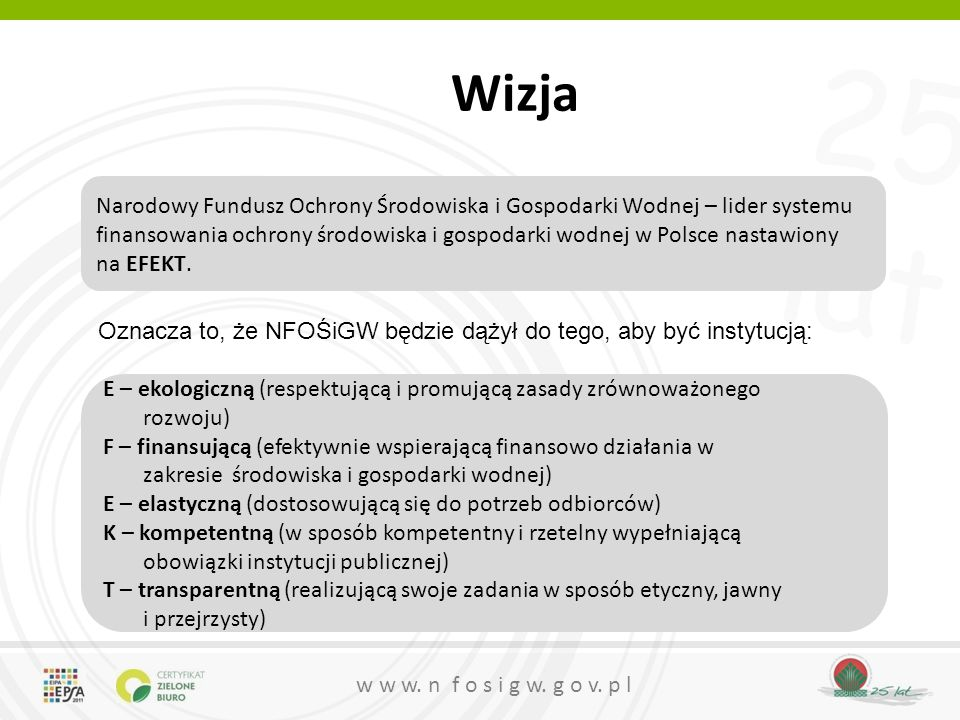 Wizja Narodowy Fundusz Ochrony Środowiska i Gospodarki Wodnej – lider systemu finansowania ochrony środowiska i gospodarki wodnej w Polsce nastawiony.