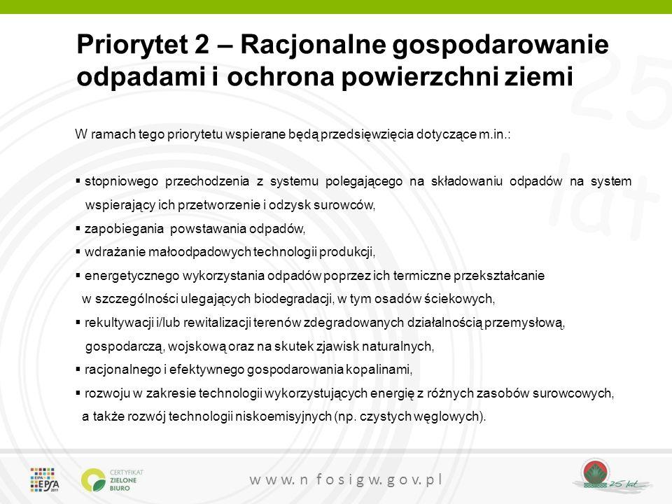 Priorytet 2 – Racjonalne gospodarowanie odpadami i ochrona powierzchni ziemi