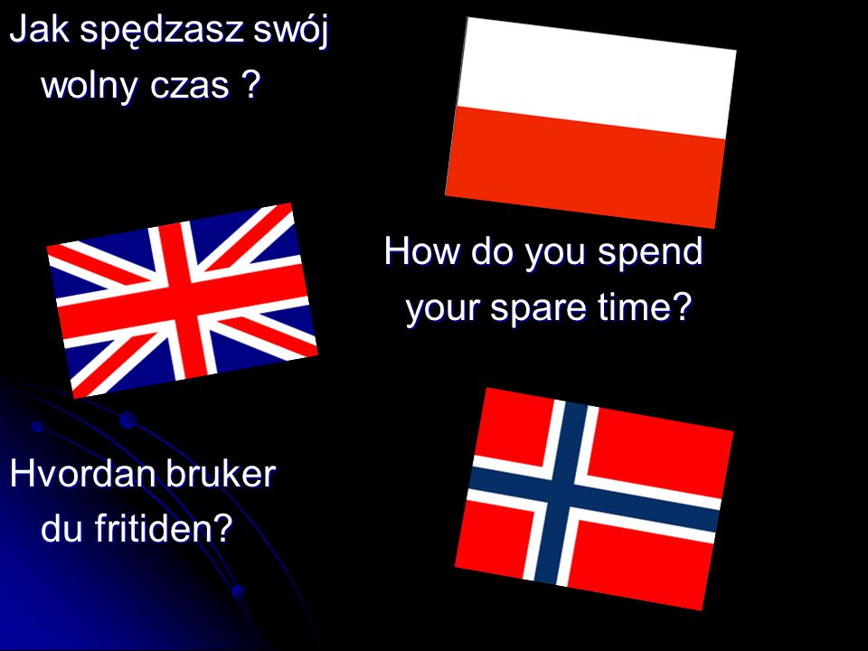 Jak spędzasz swój wolny czas How do you spend your spare time Hvordan bruker du fritiden