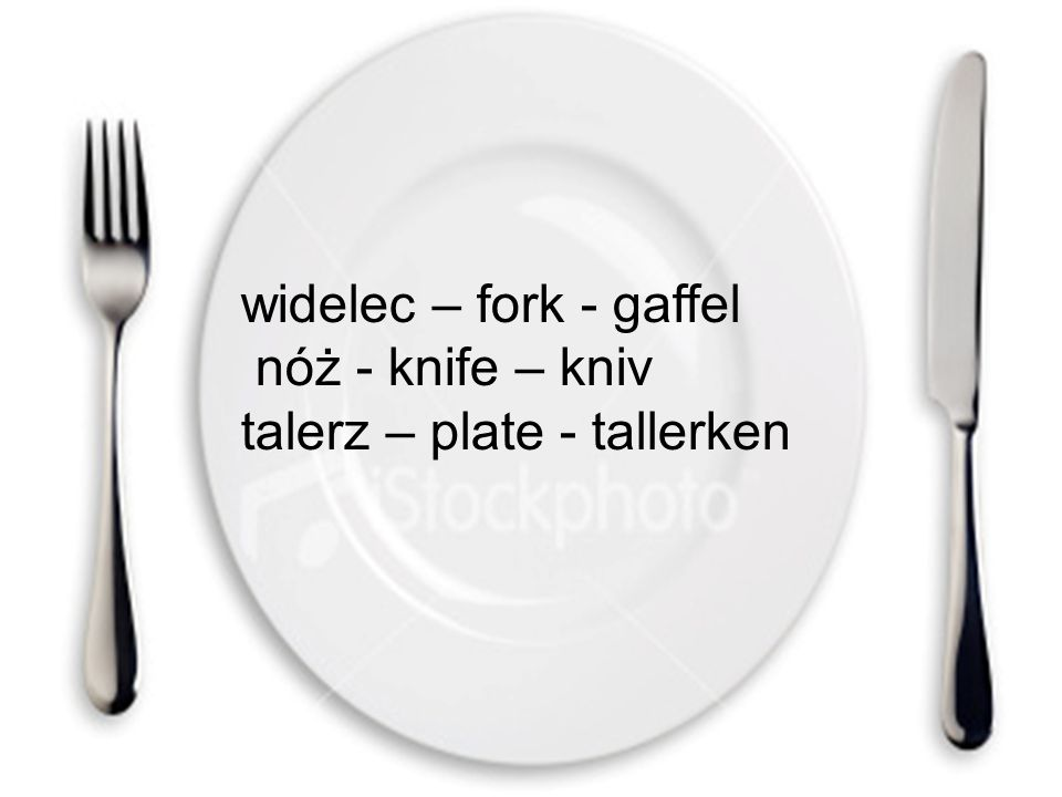 widelec – fork - gaffel nóż - knife – kniv talerz – plate - tallerken