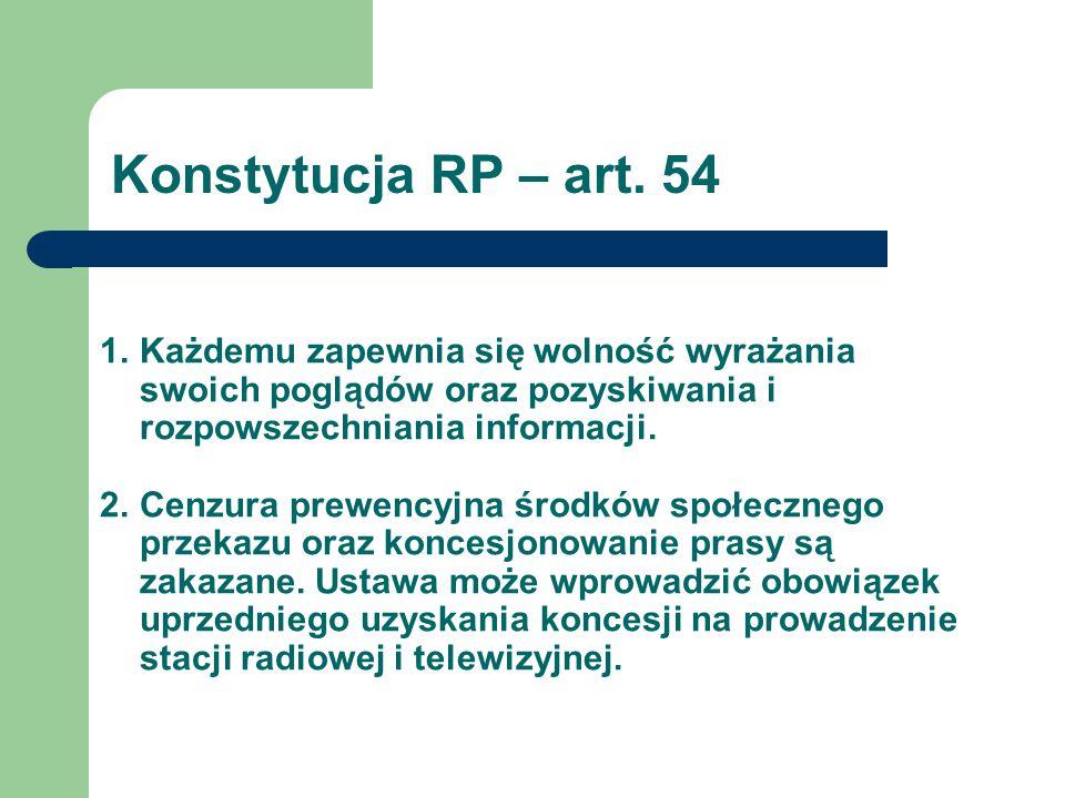 Konstytucja RP – art. 54 Każdemu zapewnia się wolność wyrażania swoich poglądów oraz pozyskiwania i rozpowszechniania informacji.