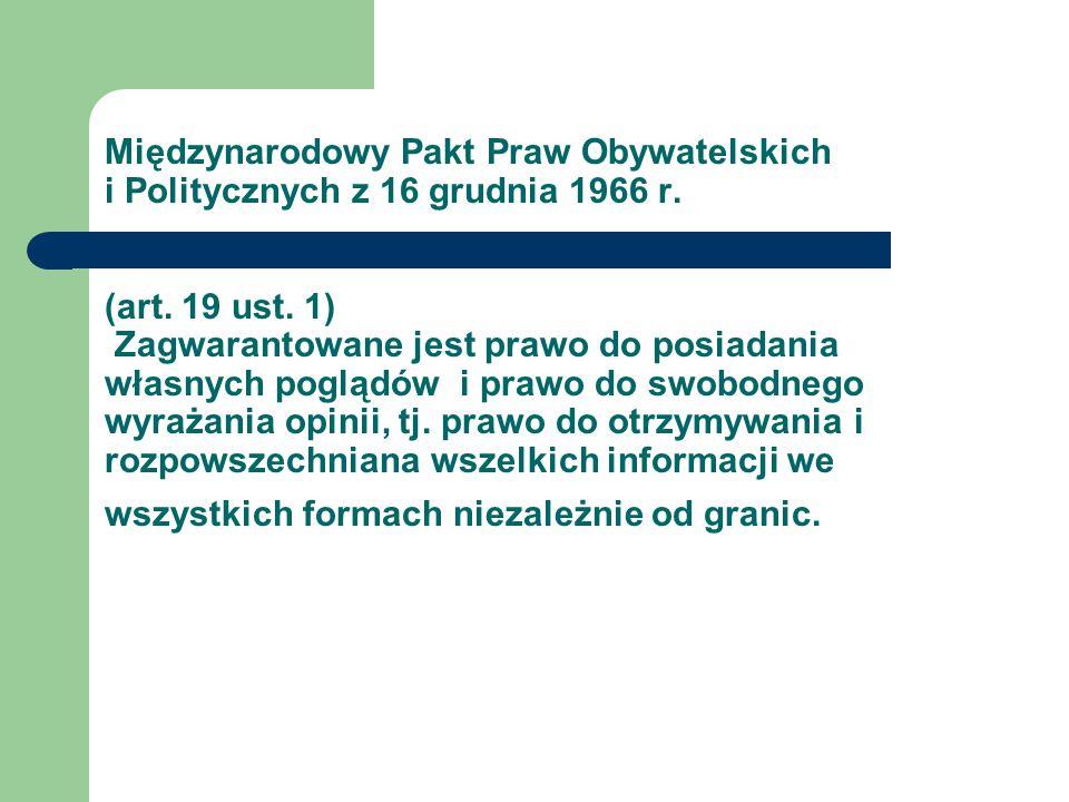 Międzynarodowy Pakt Praw Obywatelskich i Politycznych z 16 grudnia 1966 r.