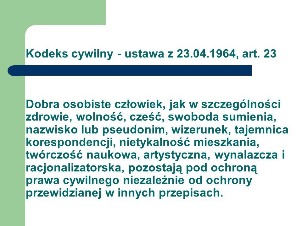 Kodeks cywilny - ustawa z 23. 04. 1964, art