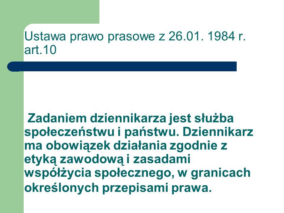 Ustawa prawo prasowe z 26. 01. 1984 r. art